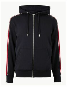 M&S Collection Pure Cotton Hoodie with Side Stripe