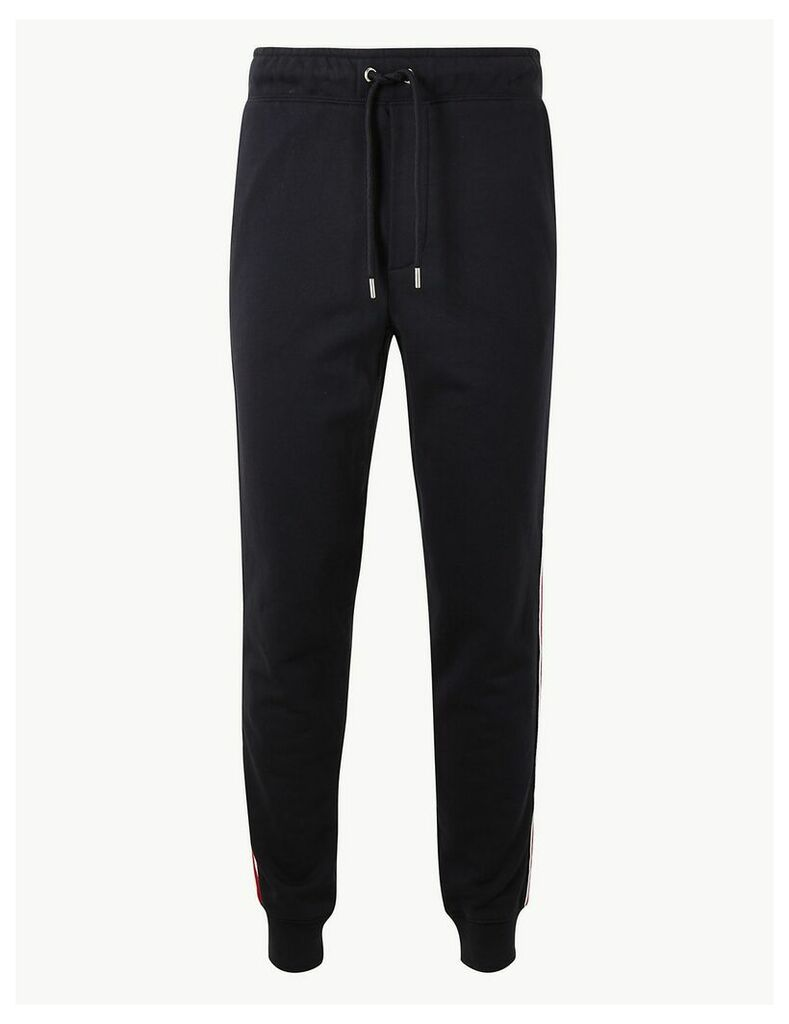 M&S Collection Pure Cotton Cuffed Joggers with Side Stripe