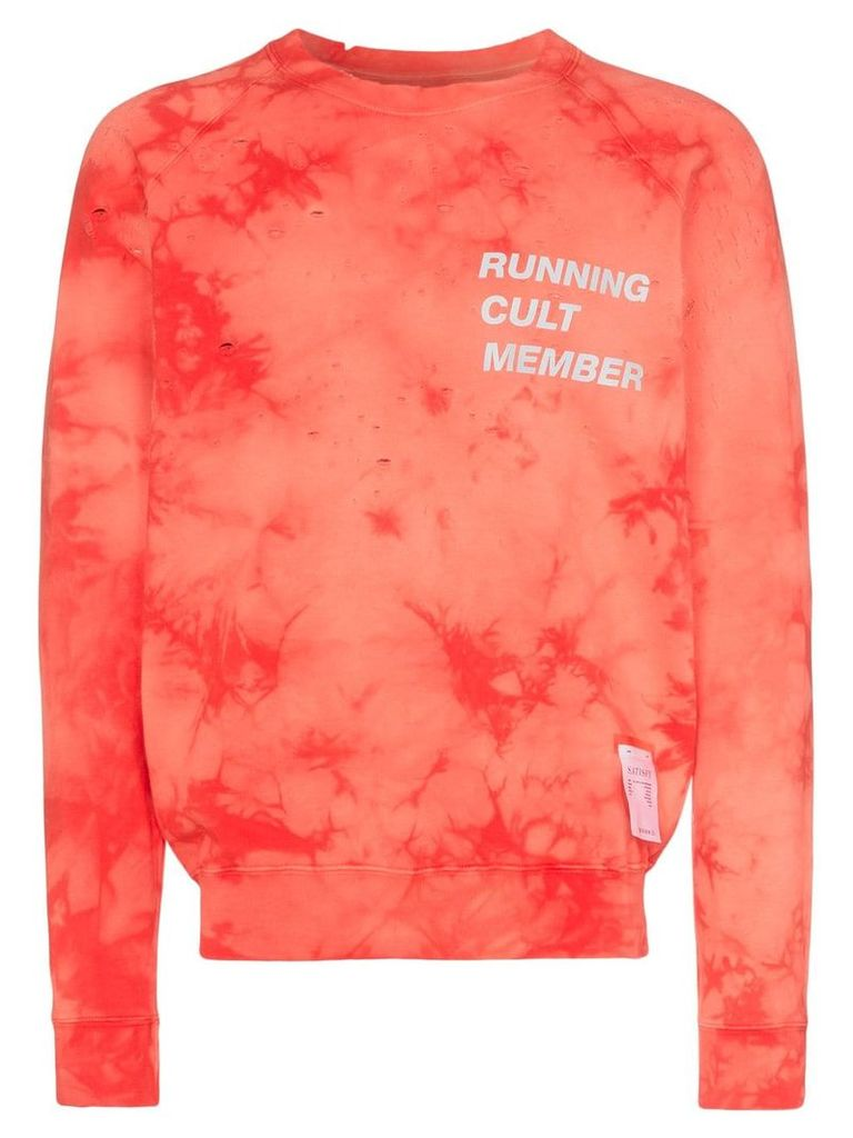 Satisfy Running Cult Member print bleached cotton sweatshirt - Red