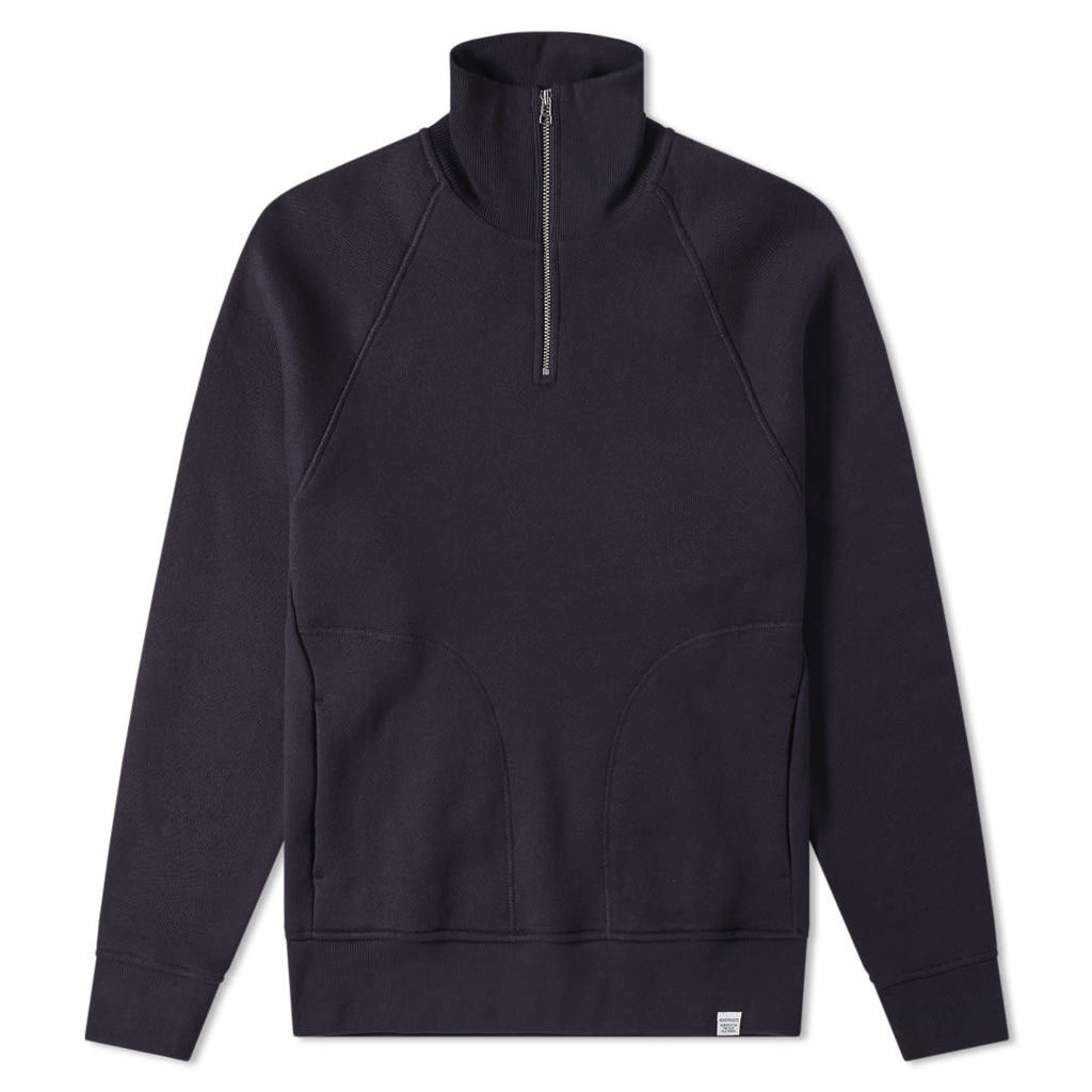 Norse Projects Alfred French Terry 1/4 Zip Sweat Dark Navy