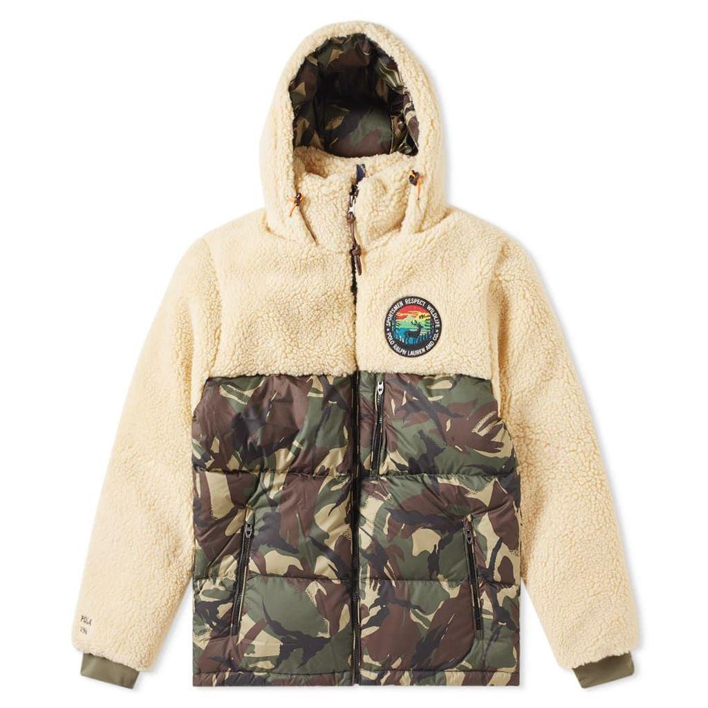 Polo Ralph Lauren Sherpa Fleece Patchwork Jacket Chamois & Elmwood Camo