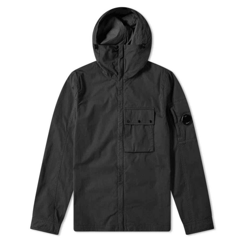 C.P. Company Hooded Gabardine Arm Lens Zip Shirt Jacket Black