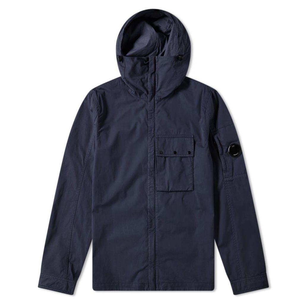 C.P. Company Hooded Gabardine Arm Lens Zip Shirt Jacket Navy