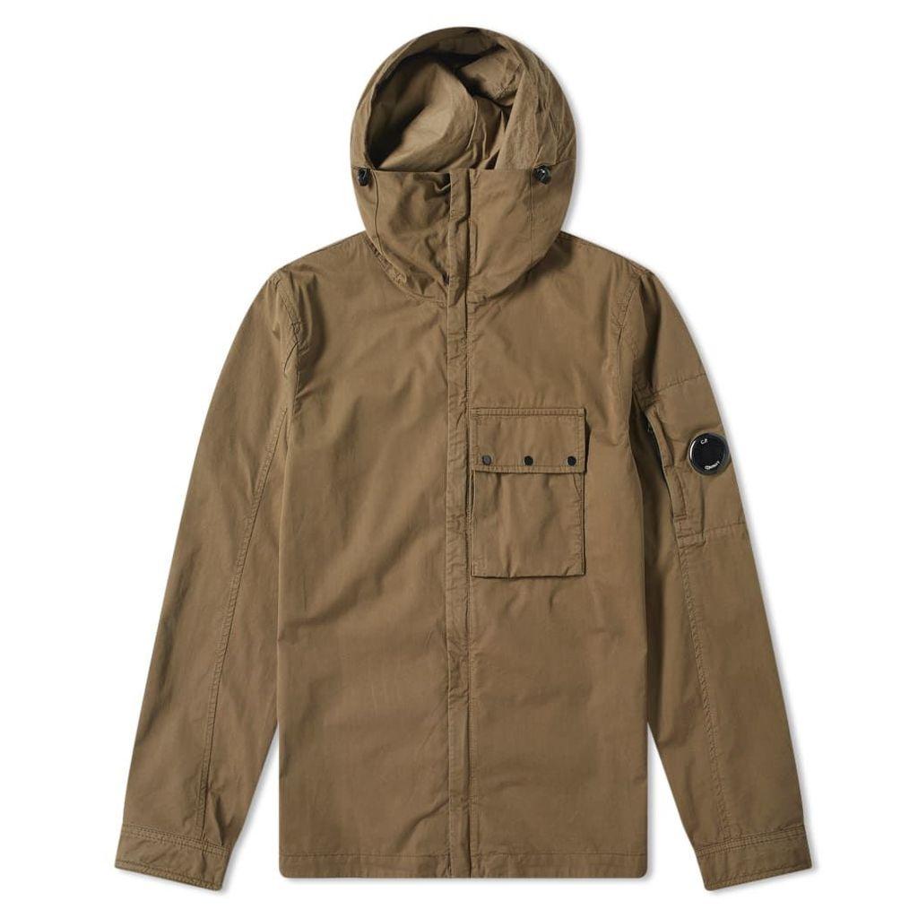 C.P. Company Hooded Gabardine Arm Lens Zip Shirt Jacket Olive