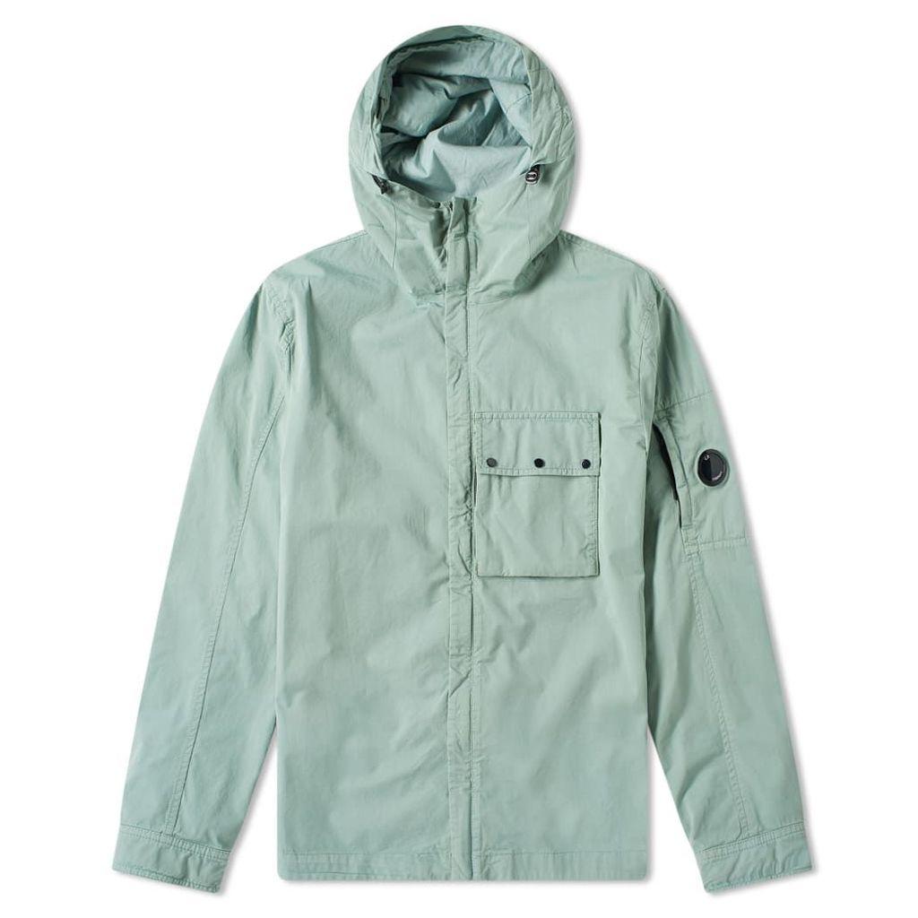 C.P. Company Hooded Gabardine Arm Lens Zip Shirt Jacket Pale Green