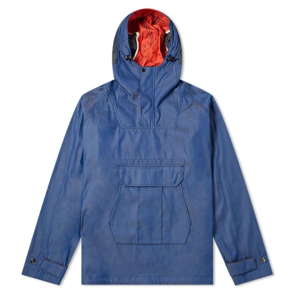 Junya Watanabe MAN Chambray Camo Popover Hooded Jacket Blue