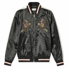 Saint Laurent Floral Embroidered Teddy Jacket Black