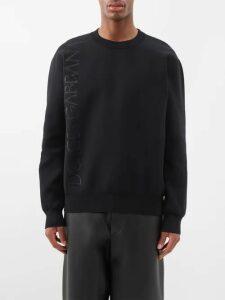 Kuro - Text Print Oversized Cotton Jersey Sweatshirt - Mens - Khaki