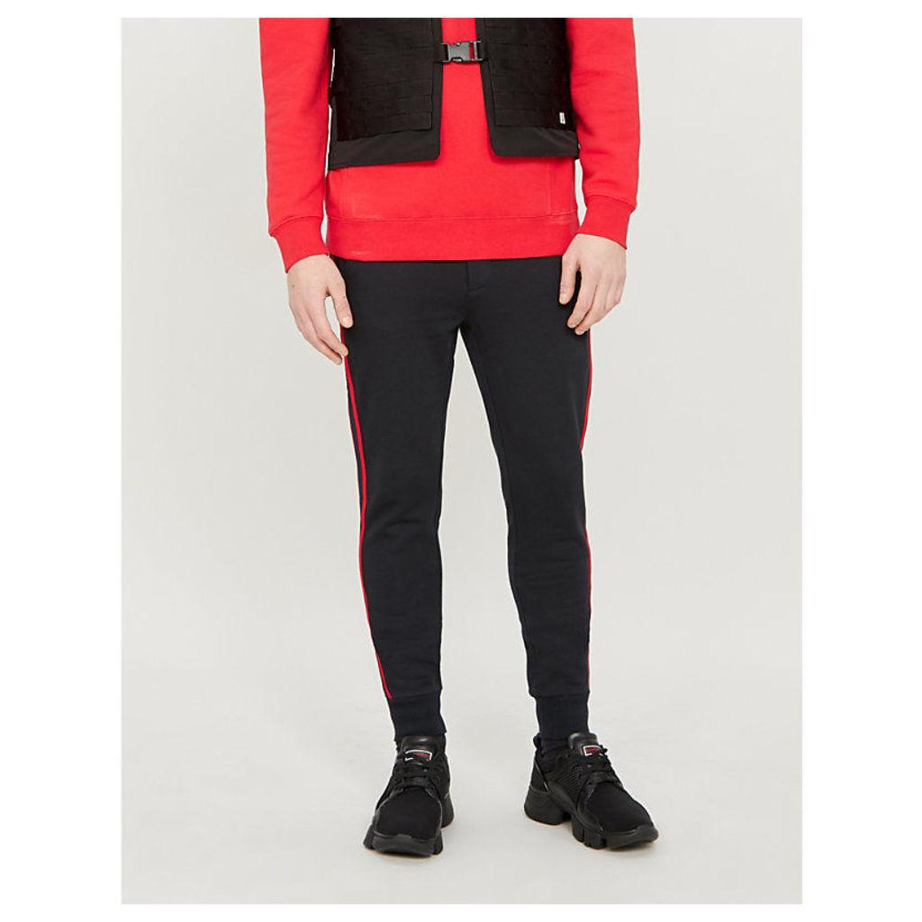 Side-strip cotton-jersey jogging bottoms