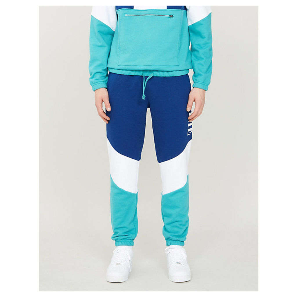Colour block relaxed-fit cotton-jersey jogging bottoms