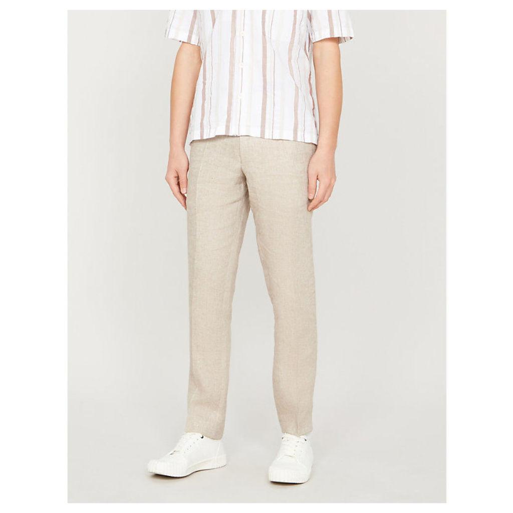 Denz slim-fit straight linen trousers
