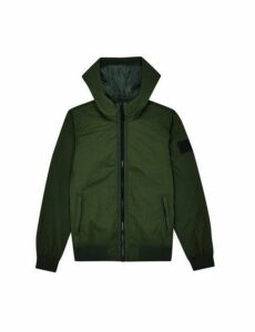 Mens Khaki Stadium Crinkle Nylon Hooded Jacket, KHAKI