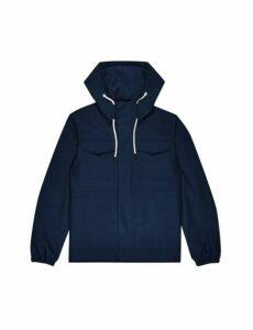 Mens Blue Short Smart Parka Jacket, Blue