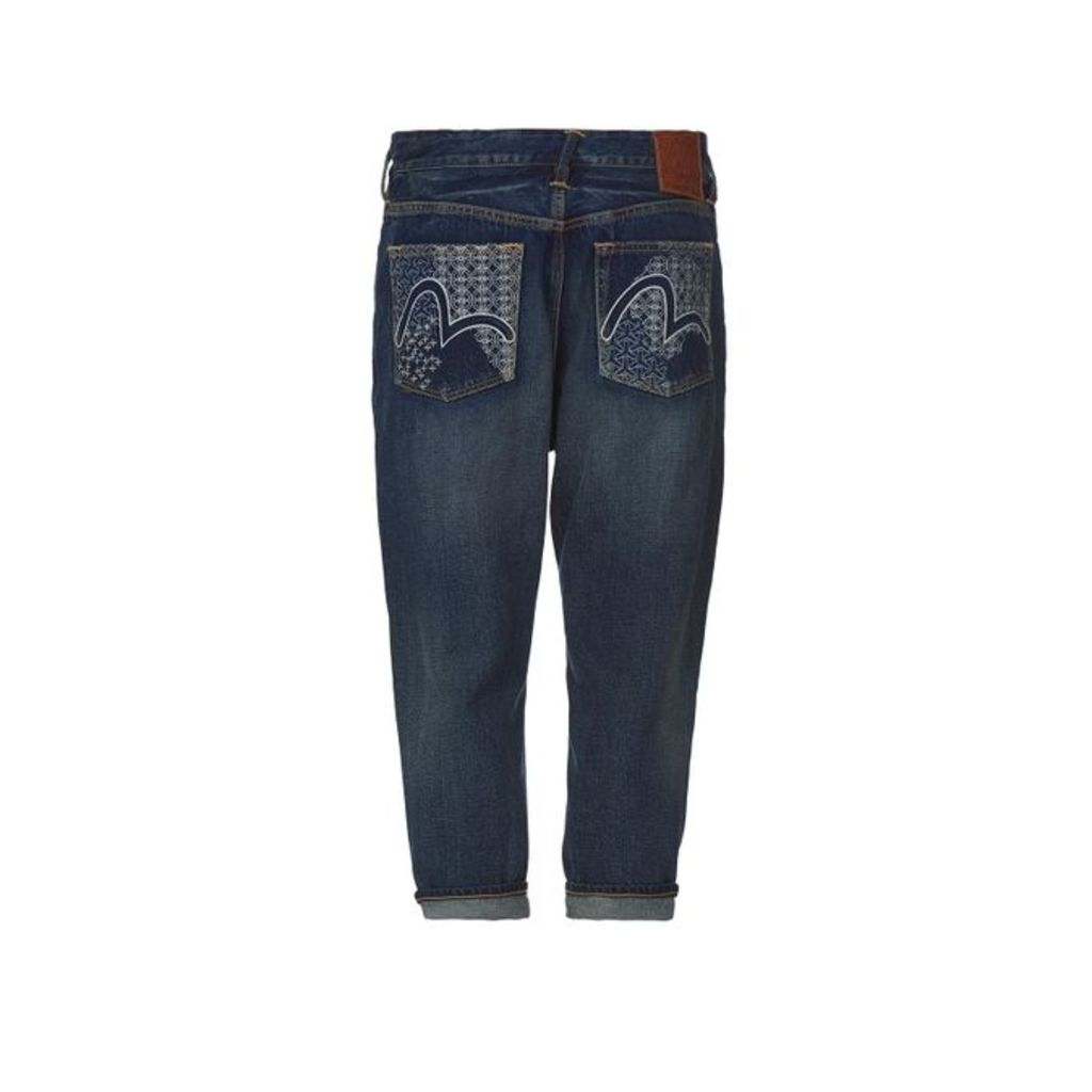 Evisu Denim Jeans With Outlined Seagull Embroidery