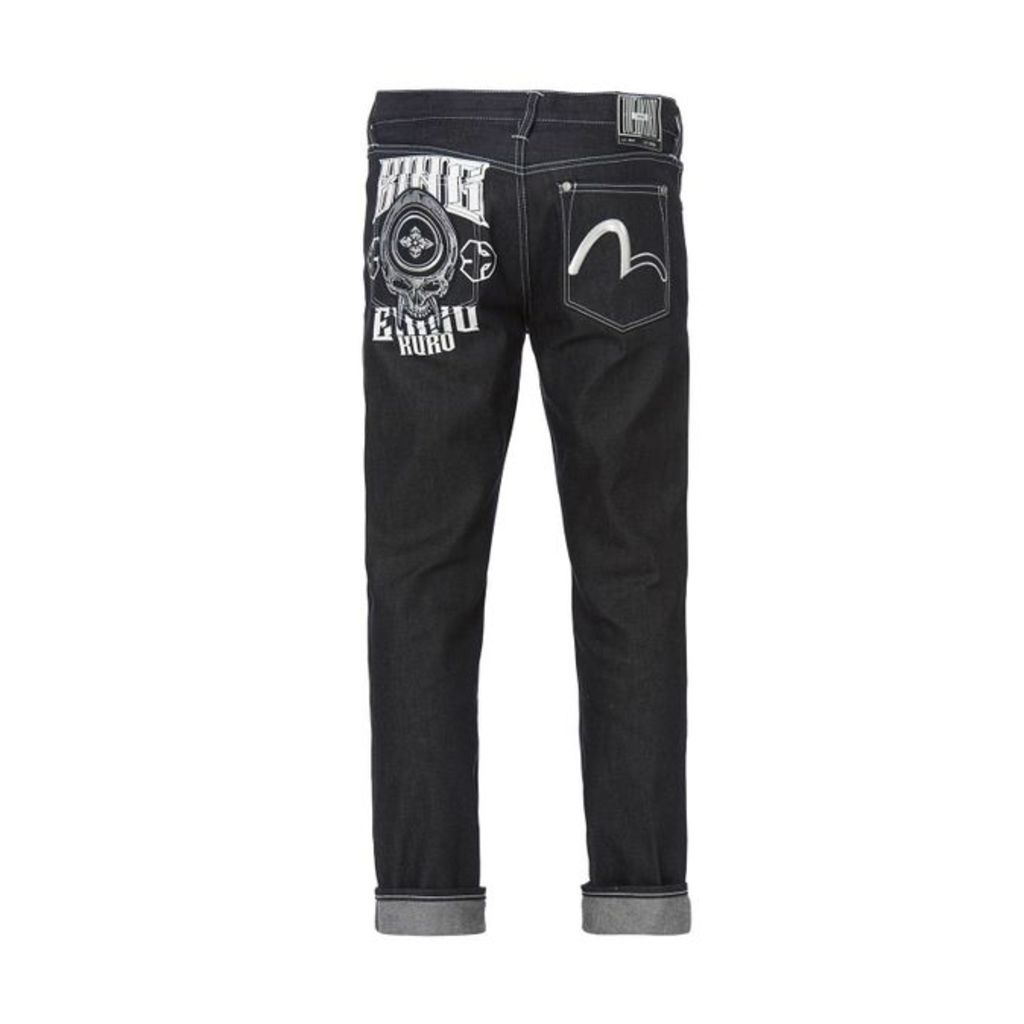 Evisu Hannya And Seagull Embroidered Slim-fitting Denim Jeans