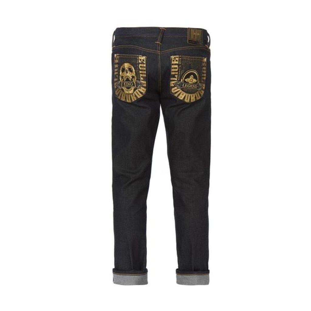 Evisu Hannya & Kamon Embroidered Pocket Jeans