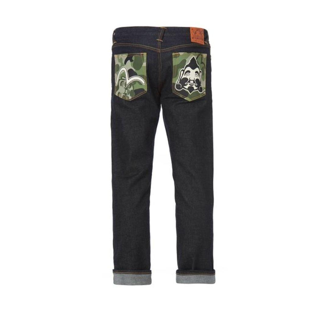 Evisu Skinny-fit Jeans With Godhead Camouflage Pockets