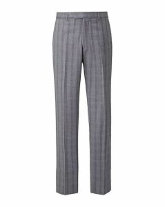 Grey Slim Stretch Check Trousers L
