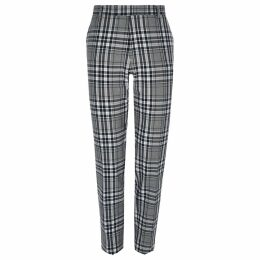 Mens River Island Big and Tall Grey tartan smart trousers