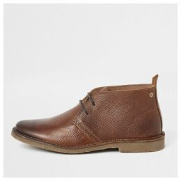 Mens River Island Brown leather chukka boots