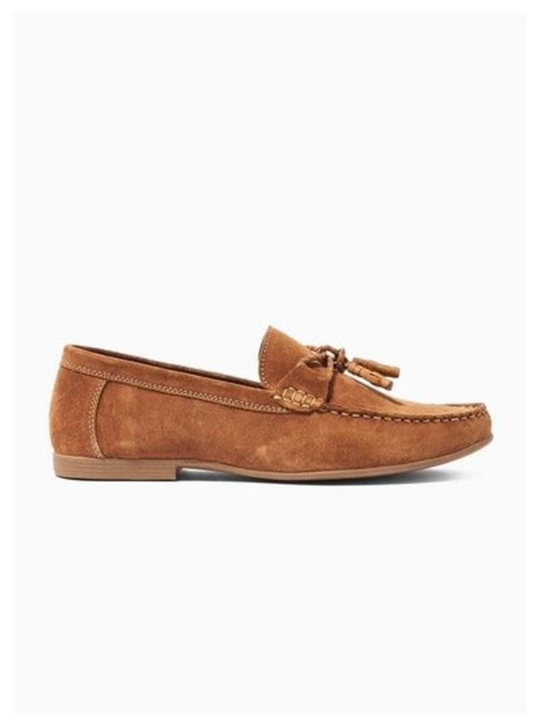 Mens Brown Tan Suede Mason Loafers, Brown