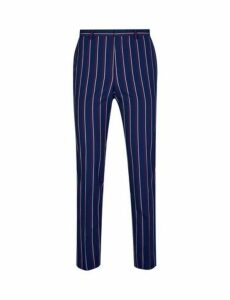 Mens Navy And Burgundy Stripe Skinny Fit Trousers, NAVY