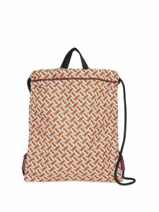 Burberry Monogram Print Nylon Drawcord Backpack - Black