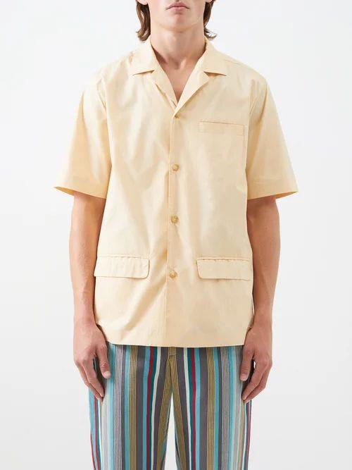 Gucci - Logo Embroidered Cotton Herringbone Trousers - Mens - Light Denim