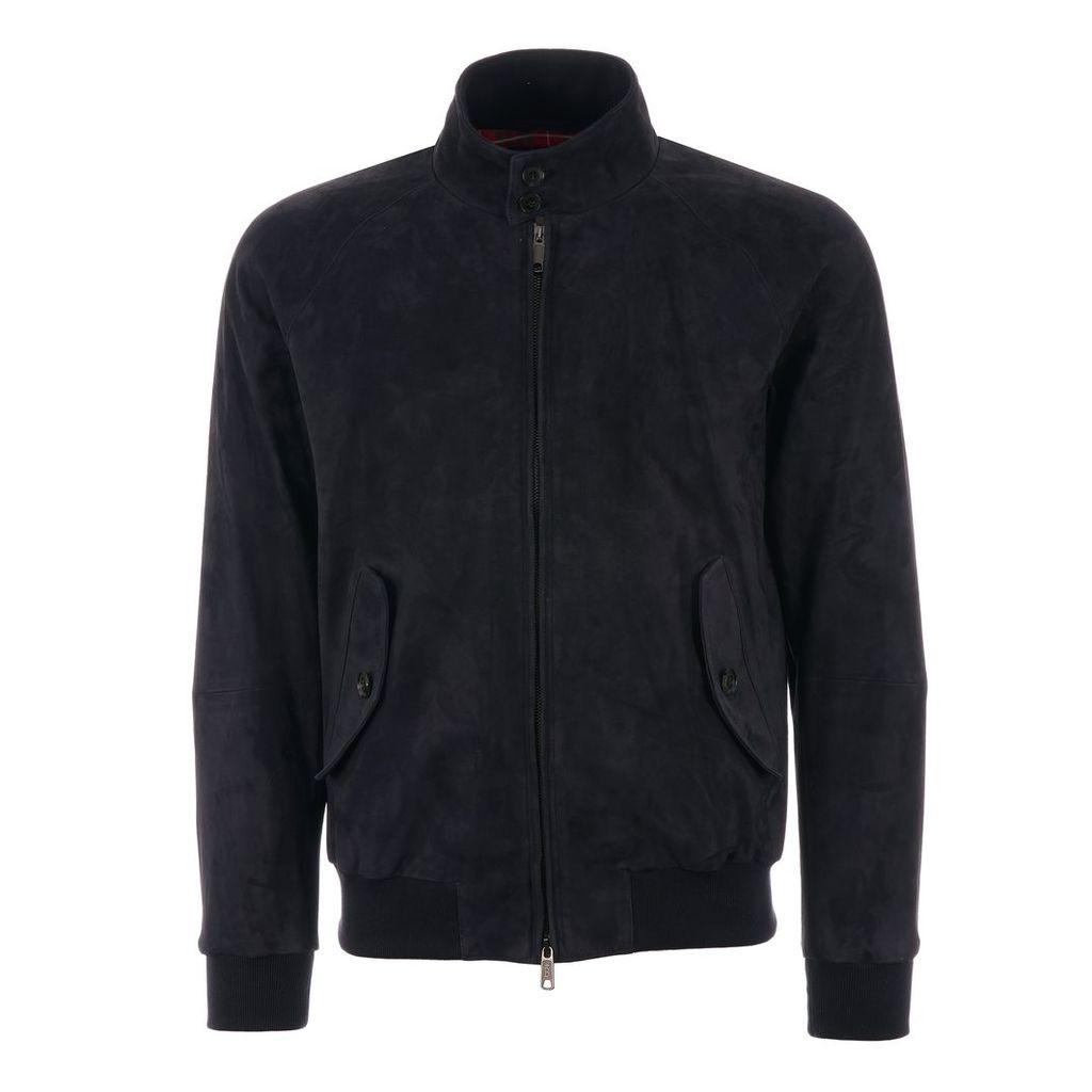 G9 Suede Harrington Jacket - Deep Blue