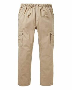 Stone Elasticated Cargo Trousers