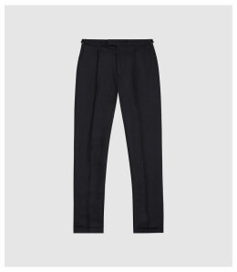 Reiss Checker - Linen Blend Tailored Trousers in Navy, Mens, Size 38
