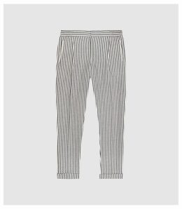 Reiss Bach - Striped Pleat Front Trousers in Navy/white, Mens, Size 38