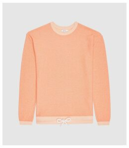 Reiss Springs - Textured Sweatshirt With Draw Cord in Orange, Mens, Size XXL