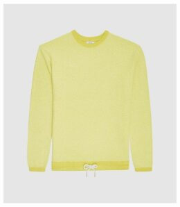 Reiss Springs - Textured Sweatshirt With Draw Cord in Yellow, Mens, Size XXL