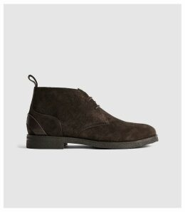 Reiss Reeves - Suede Crepe Sole Desert Boots in Dark Brown, Mens, Size 12