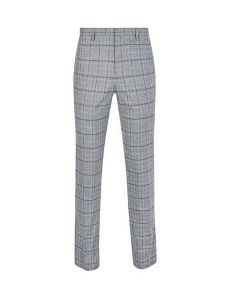 Mens Grey Skinny Fit Stretch Grindle Check Trousers, Grey