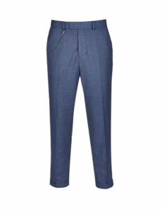 Mens Navy Carrot Fit Textured Trousers, Blue