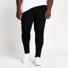 Mens River Island Big and Tall Black Ollie spray on jeans