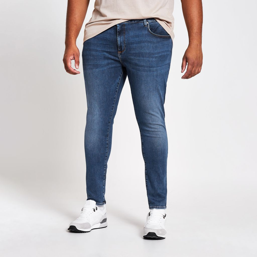Mens Big and Tall mid Blue Ollie spray on jeans