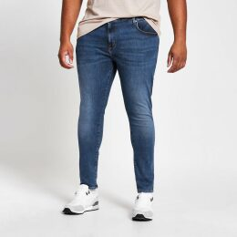 Mens River Island Big and Tall mid Blue Ollie spray on jeans