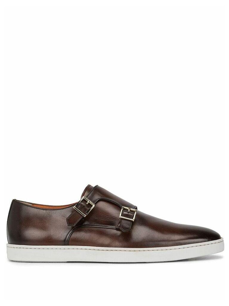 Santoni freemont monk strap shoes - Brown