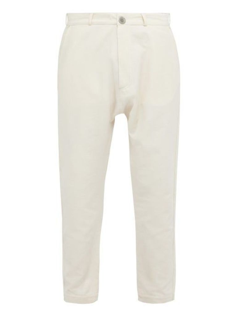 Marrakshi Life - Tapered Leg Cotton Blend Trousers - Mens - Cream