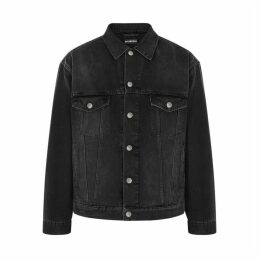 Balenciaga Black Logo-embroidered Denim Jacket