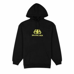 Balenciaga Black Logo Hooded Cotton Sweatshirt