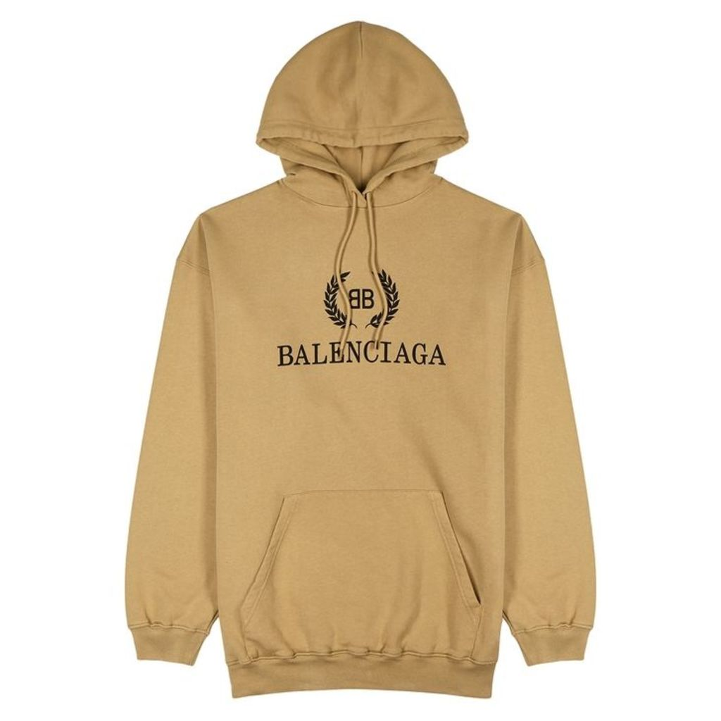 Balenciaga Camel Logo Hooded Cotton Sweatshirt