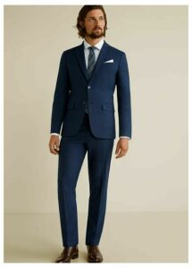 Slim fit microstructure suit trousers