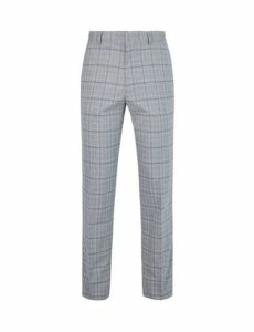 Mens Grey Slim Fit Stretch Grindle Check Trousers, Grey
