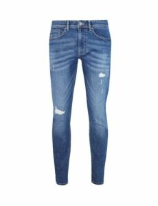 Mens Organic Light Wash Tyler Skinny Fit Jeans, Blue