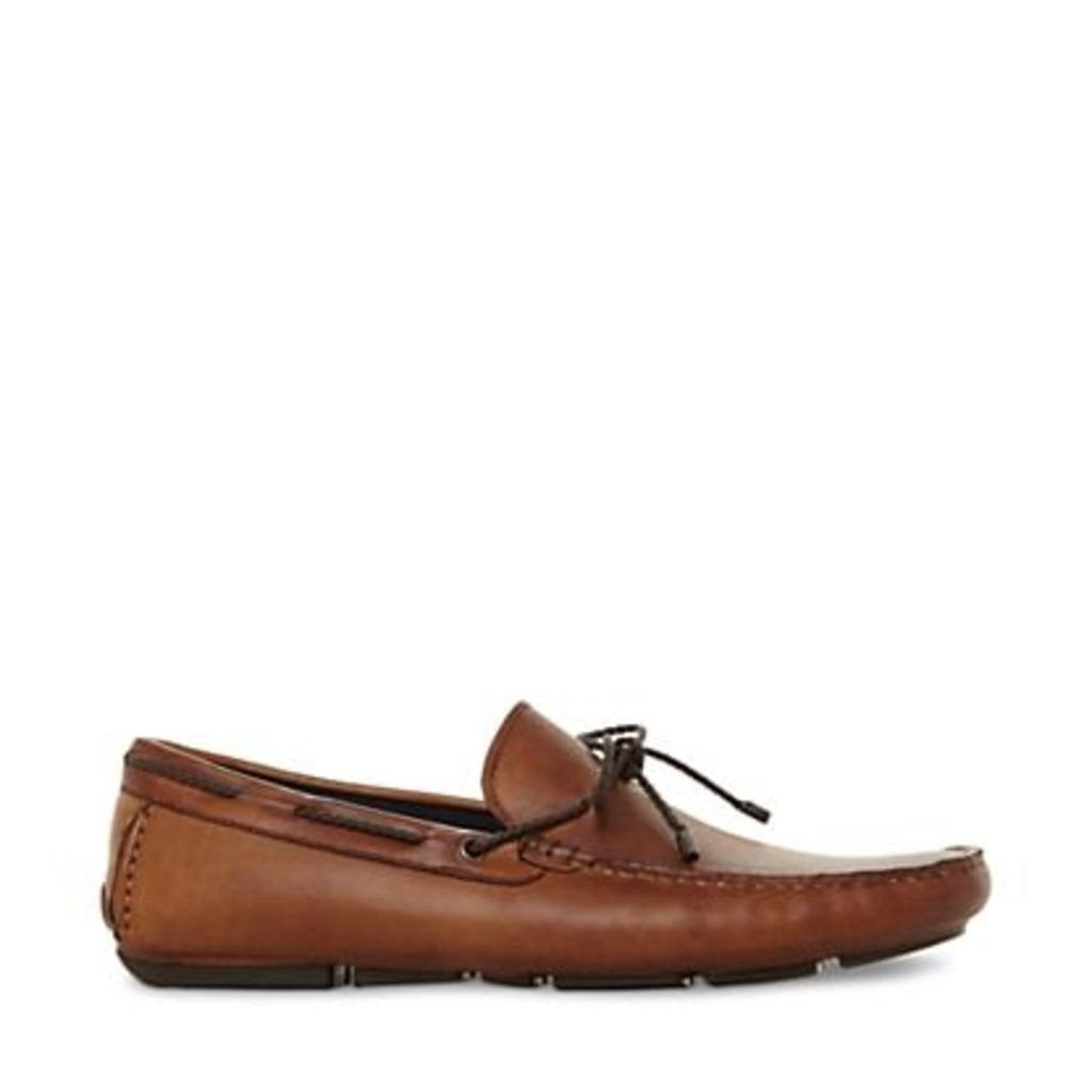 Dune Brandstable Leather Driver Loafers, Tan