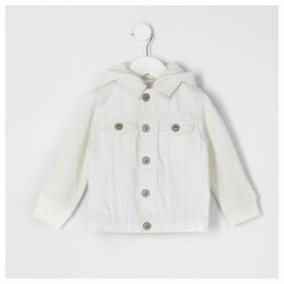 River Island Mini kids ecru hooded denim jacket